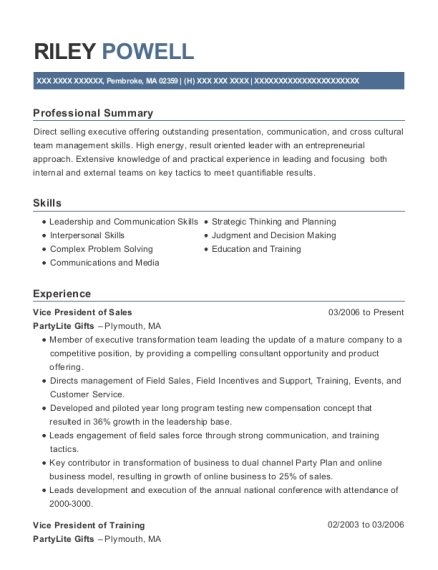 Vice President of Sales resume template Massachusetts