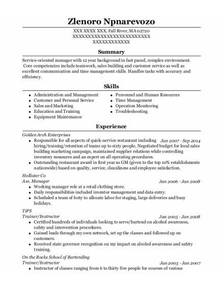 Ass Manager resume example Massachusetts