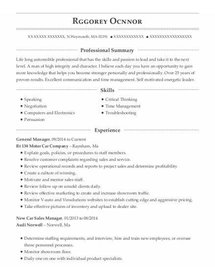 General Manager resume sample Massachusetts