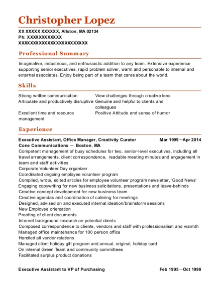 Executive Assistant resume format Massachusetts