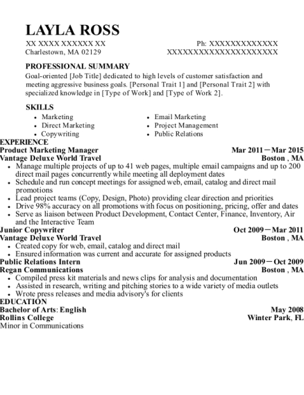 Product Marketing Manager resume sample Massachusetts