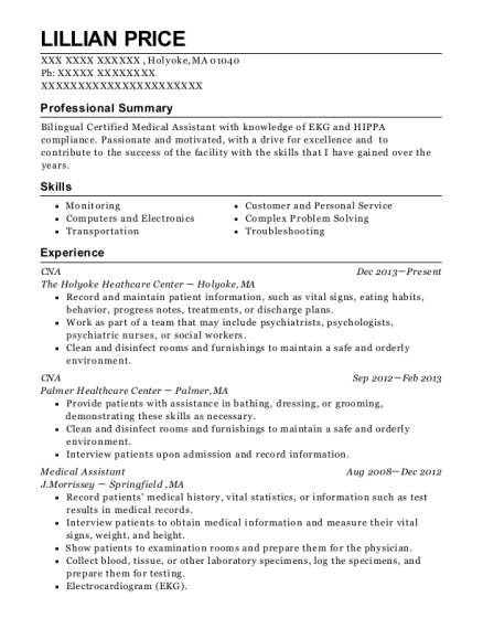 CNA resume sample Massachusetts