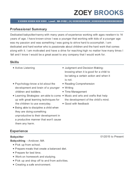 Babysitter resume sample Massachusetts
