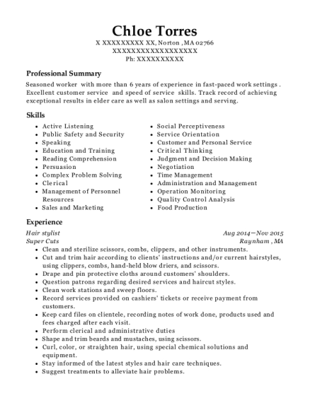 Hair stylist resume template Massachusetts
