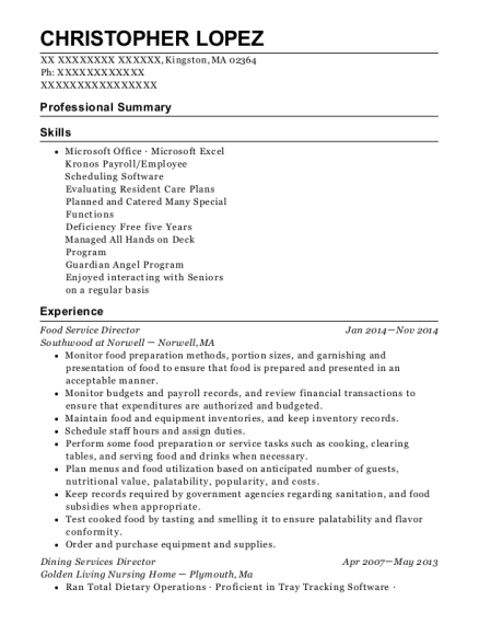 Food Service Director resume format Massachusetts
