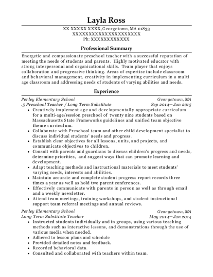 5 Preschool Teacher resume template Massachusetts