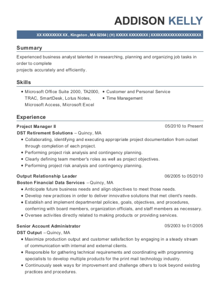 Project Manager II resume sample Massachusetts