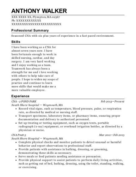 CNA 2 POND PARK resume template Massachusetts