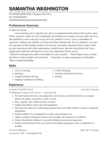 Assistant Football Coach resume example Massachusetts
