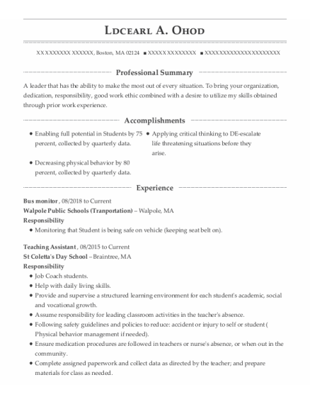 Bus Monitor resume example Massachusetts