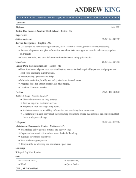 Office Assistant resume example Massachusetts