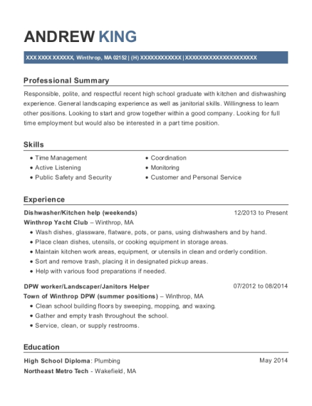 Dishwasher resume format Massachusetts