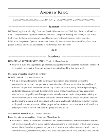 Machine Operator resume format Massachusetts