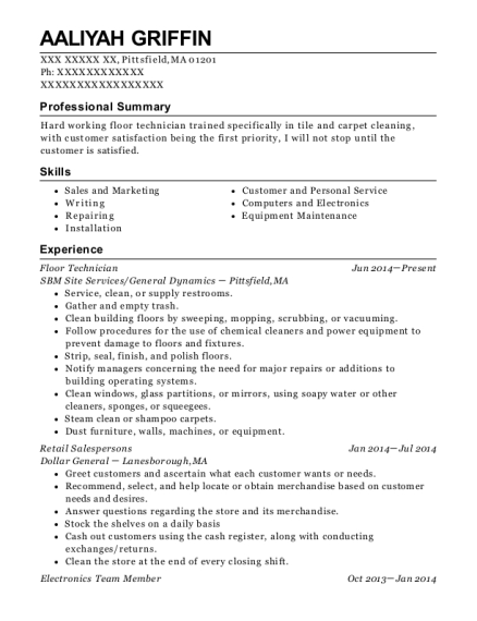 Floor Technician resume format Massachusetts