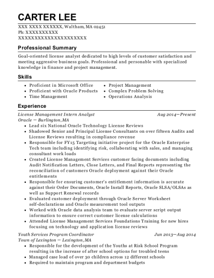 License Management Intern Analyst resume sample Massachusetts
