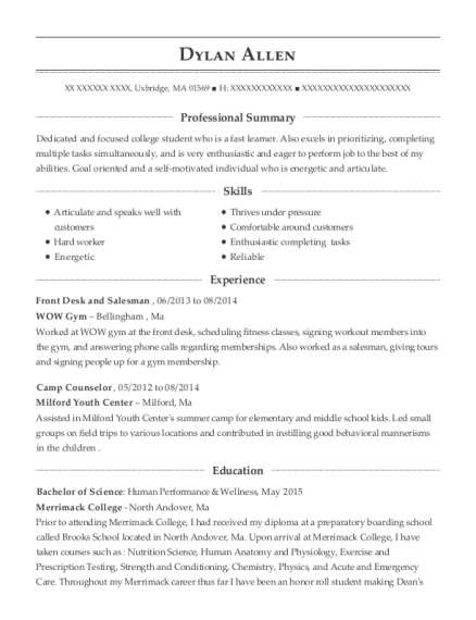 Front Desk and Salesman resume template Massachusetts