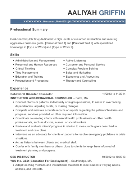 Behavioral Disorder Counselor resume sample Massachusetts