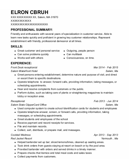 Front Desk receptionist resume example Massachusetts