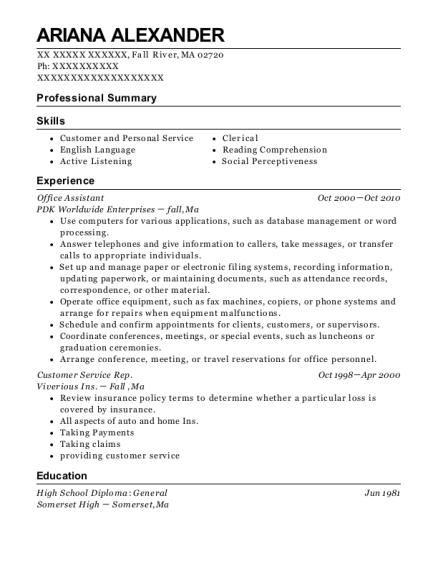 Office Assistant resume sample Massachusetts