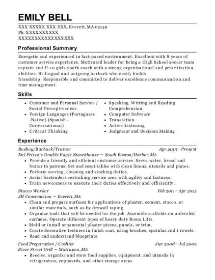 Busboy resume example Massachusetts
