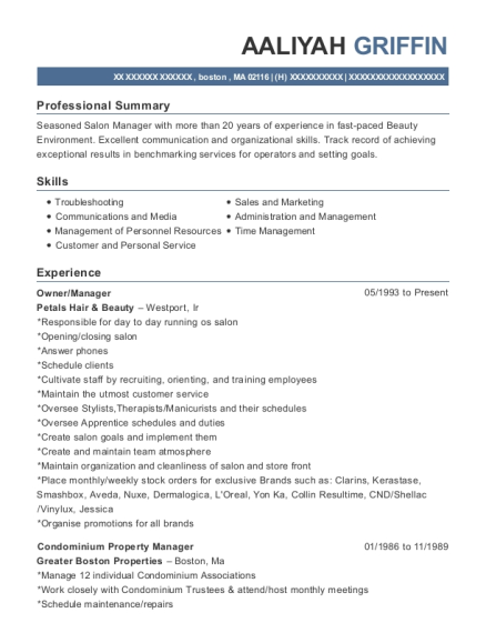 Owner resume example Massachusetts
