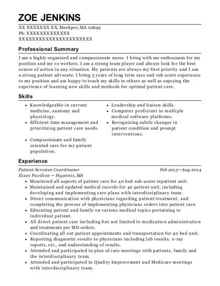 Patient Services Coordinator resume format Massachusetts
