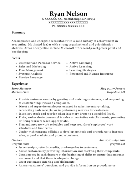 Store Manager resume template Massachusetts
