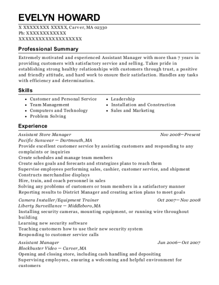 Assistant Store Manager resume template Massachusetts