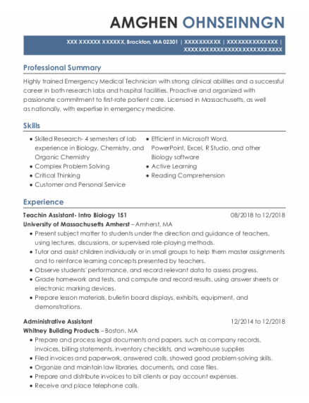 Administrative Assistant resume example Massachusetts