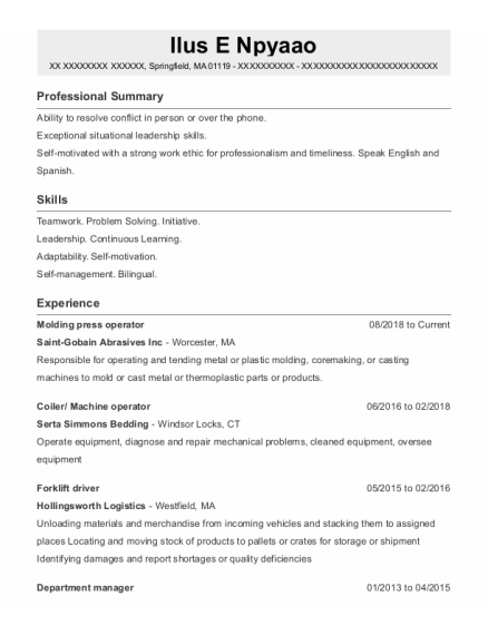 Forklift Driver resume example Massachusetts