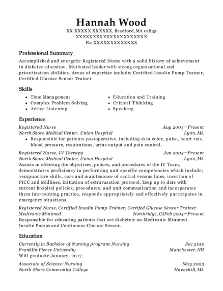 Registered Nurse resume example Massachusetts
