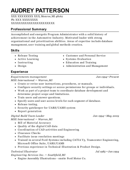Requirements management resume example Michigan