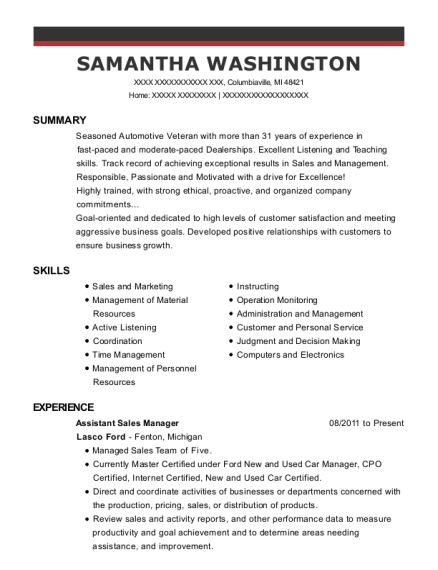 Assistant Sales Manager resume sample Michigan