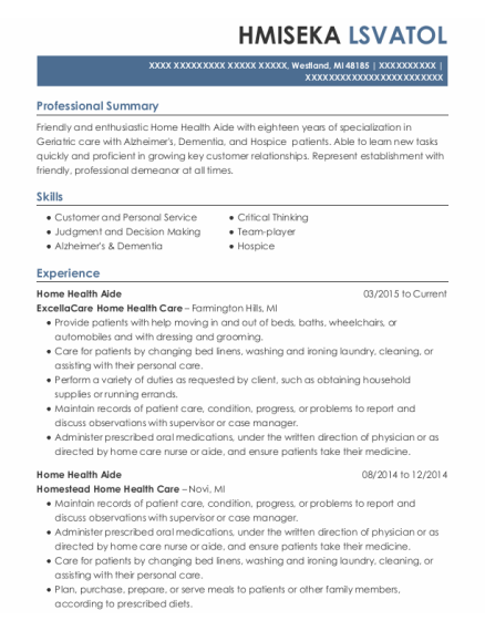 Home Health Aide resume example Michigan