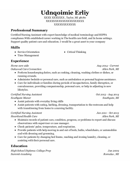 Home Care Aide resume template Michigan