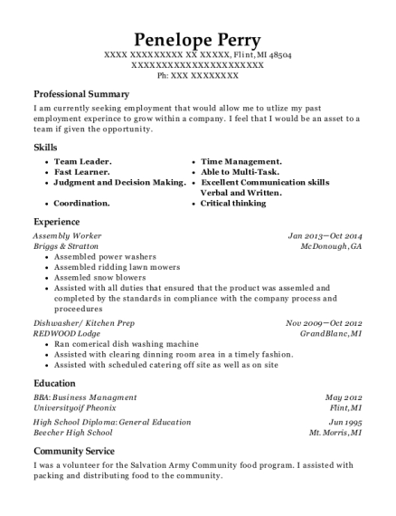 Assembly Worker resume example Michigan