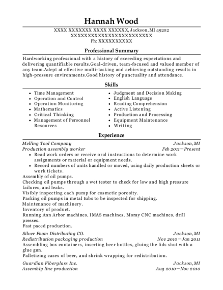 Production assembly worker resume format Michigan