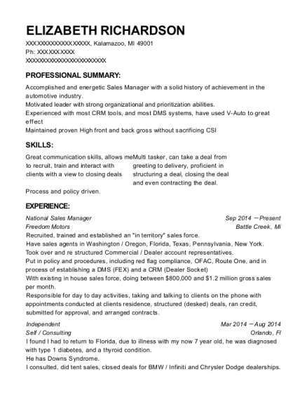 National Sales Manager resume example Michigan