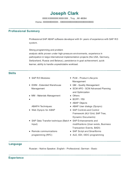 Senior SAP ABAP Technical Consultant resume sample Michigan