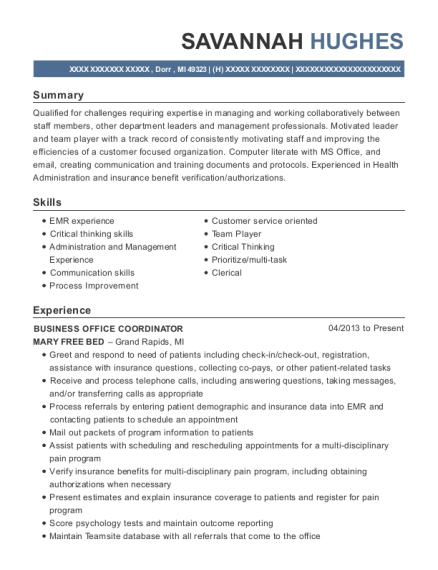 BUSINESS OFFICE COORDINATOR resume template Michigan