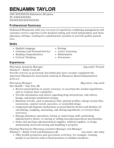 Pharmacy Assistant Manager resume sample Michigan