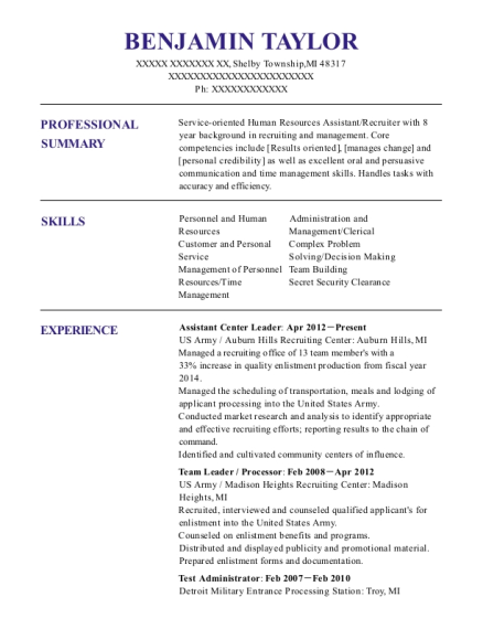 Assistant Center Leader resume sample Michigan
