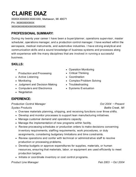 Production Control Manager resume format Michigan
