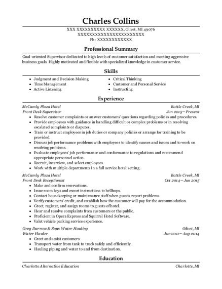 Front Desk Supervisor resume example Michigan