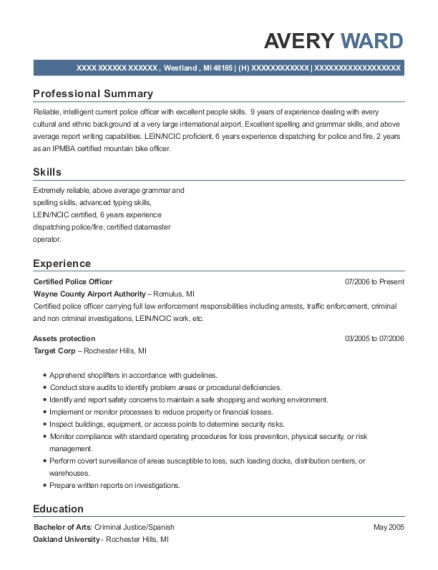 Certified Police Officer resume sample Michigan