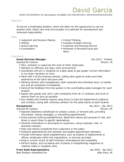 Guest Services Manager resume template Michigan