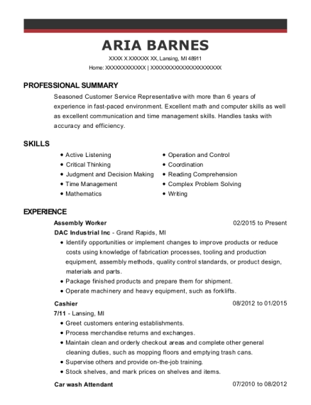 Assembly Worker resume format Michigan