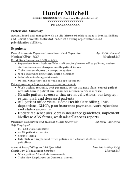 Patient Accounts Representative resume format Michigan