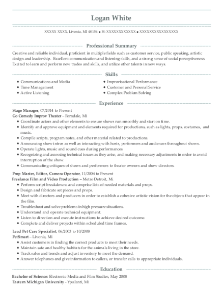 Stage Manager resume format Michigan