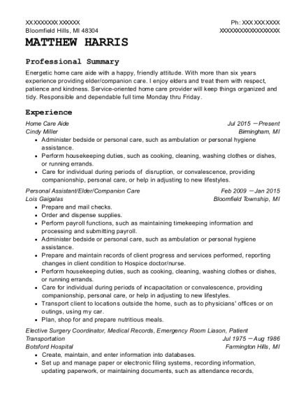 Home Care Aide resume format Michigan